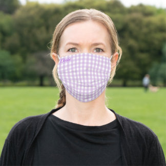 Pastel Purple Gingham Pattern Adult Cloth Face Mask
