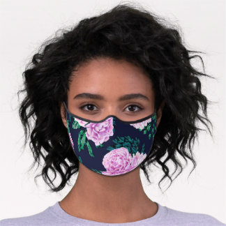 Pastel Purple Navy Watercolor Flowers Safety Premium Face Mask