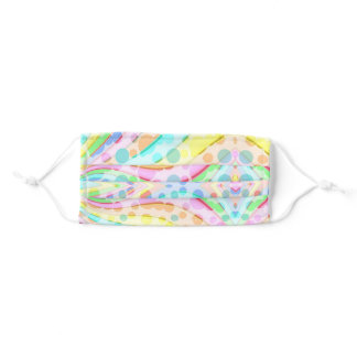 Pastel Rainbow Ribbons and Bubbles Adult Cloth Face Mask