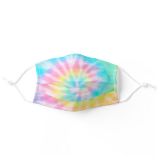 Pastel Rainbow Tie Dye Pattern Adult Cloth Face Mask