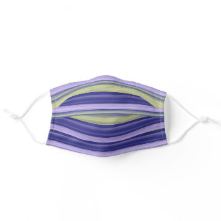 Pastel Violet Dark Purple Lime Green Art Stripes Adult Cloth Face Mask