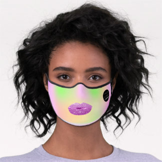 Pastels Mint Green Pink Holograph Lips Name Logo Premium Face Mask