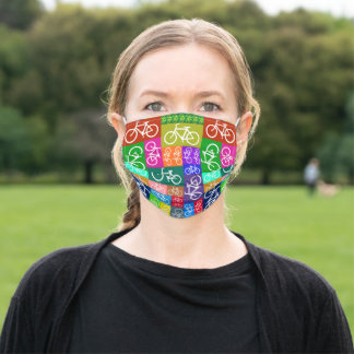 Patchwork Bicycle Pattern Adult Cloth Face Mask