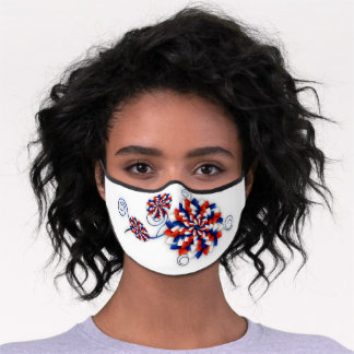 Patriotic Abstract 3D Like Effect Flowers USA Premium Face Mask