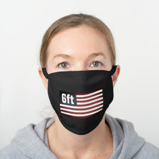 Patriotic American flag 6ft social distancing Black Cotton Face Mask
