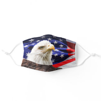 Patriotic American Flag Bald Eagle 4th of July Adult Cloth Face Mask