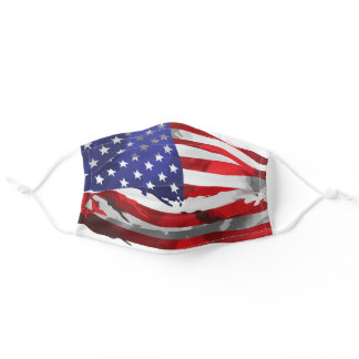 Patriotic American Flag Red White Blue USA Adult Cloth Face Mask