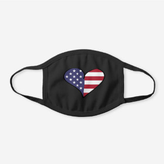 Patriotic American Flag USA Red White And Blue Black Cotton Face Mask