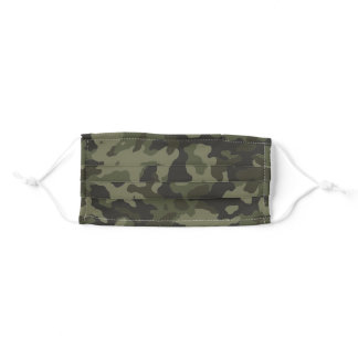 Patriotic Camouflage Olive Green Camo Pattern Adult Cloth Face Mask