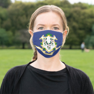 Patriotic Connecticut State Flag Adult Cloth Face Mask