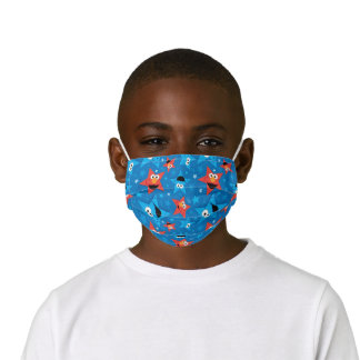 Patriotic Elmo and Cookie Monster Pattern Kids' Cloth Face Mask