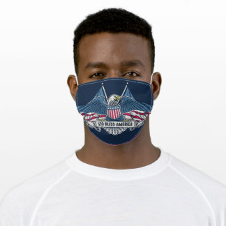 Patriotic, Flag, Eagle, God Bless America Adult Cloth Face Mask