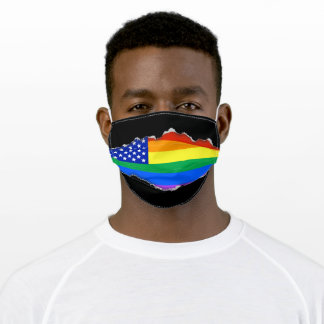 Patriotic Gay Flag | Faux Torn Out Look Adult Cloth Face Mask