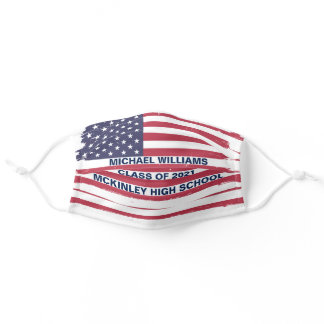 Patriotic Graduation American Flag Custom School Adult Cloth Face Mask