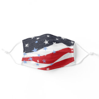 Patriotic Grunge Stars and Stripes Adult Cloth Face Mask