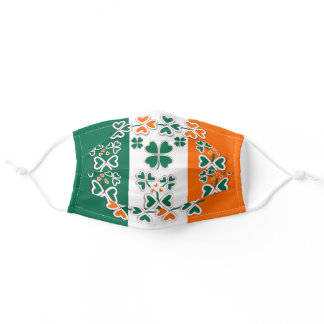 Patriotic Irish Shamrock and Tricolour  Design Adult Cloth Face Mask