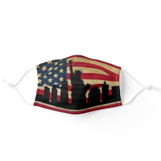 Patriotic New York Skyline American Flag Adult Cloth Face Mask