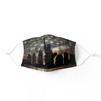 Patriotic New York Skyline Vintage American Flag Adult Cloth Face Mask