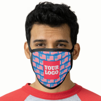 Patriotic Personalized Custom Logo American Flags Face Mask