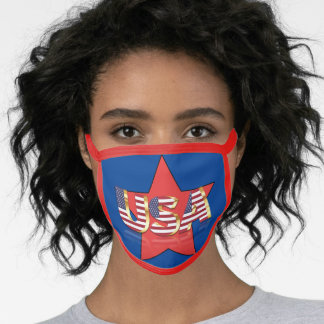 Patriotic Red White Blue USA  Face Mask