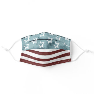 Patriotic Stars and Stripes Rustic Wood Adult Cloth Face Mask