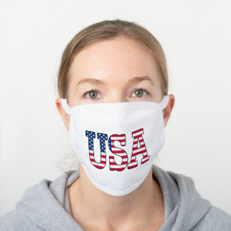 Patriotic USA American Flag White Cotton Face Mask