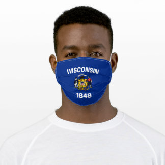 Patriotic Wisconsin State Flag Adult Cloth Face Mask