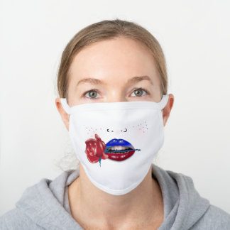 Patriotic with Rose, Sexy White Cotton Face Mask