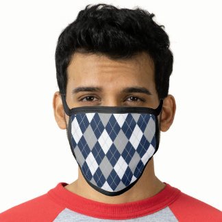 Pattern Navy Blue Gray White Argyle Diamond Face Mask