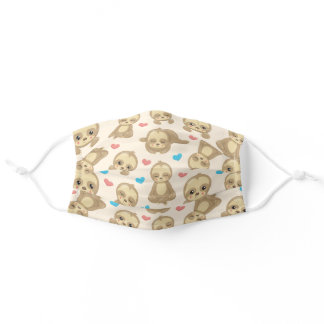 Pattern Of Sloths, Cute Sloths, Hearts Adult Cloth Face Mask