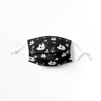 Patterned Black White Symbols Ship Anchor Pirate Kids' Cloth Face Mask