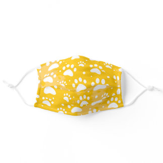 Paw Bright Yellow Adult Cloth Face Mask