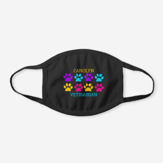 Paw print design for vetinarian personalized name black cotton face mask