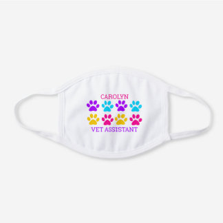 Paw print design with personalized name and job white cotton face mask