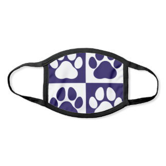 Paw Prints Dog Traces Trails Navy Blue and White Face Mask
