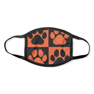 Paw Prints Dog Traces Trails Orange and Black Face Mask