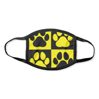 Paw Prints Dog Traces Trails Yellow and Black Face Mask