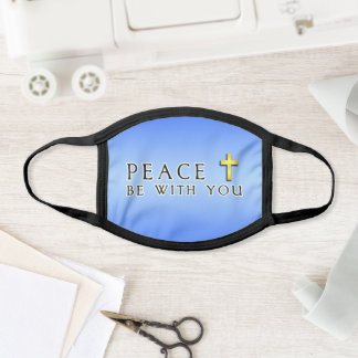Peace Be With You Religious Cross Blue Face Mask