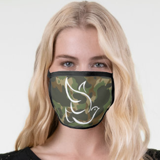PEACE DOVE Symbol Sign - Hippie 1960s Camouflage Face Mask