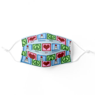 Peace Love Badminton Adult Cloth Face Mask