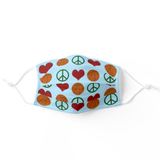 Peace Love Basketball Adult Cloth Face Mask