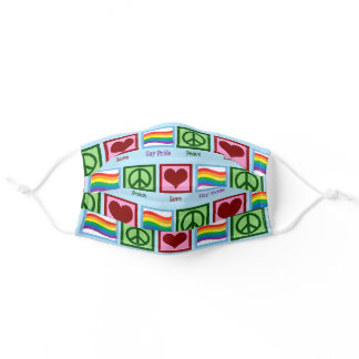Peace Love Gay Pride Adult Cloth Face Mask