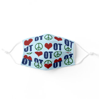 Peace Love Occupational Therapy OT Pattern Adult Cloth Face Mask