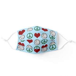 Peace Love Volleyball Adult Cloth Face Mask
