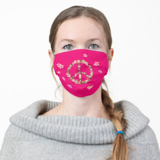 Peace sign with colorful flowers,Personalized text Adult Cloth Face Mask