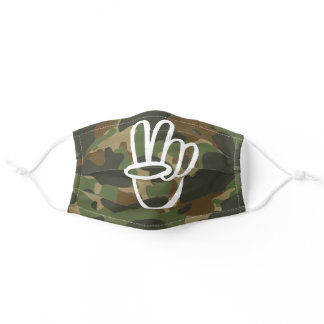 PEACE Symbol Hand V Sign Hippie Green Camouflage Adult Cloth Face Mask