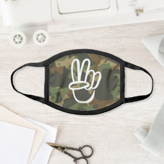 PEACE Symbol Hand V Sign Hippie Green Camouflage Face Mask