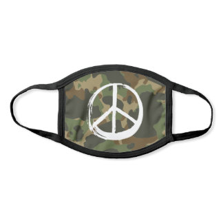 PEACE Symbol sign - Hippie 1960s Green  Camouflage Face Mask