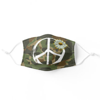 PEACE Symbol sign - Hippie Daisy Green Camouflage Adult Cloth Face Mask