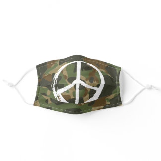 PEACE Symbol sign - Hippie Green Khaki Camouflage Adult Cloth Face Mask